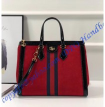 Gucci Ophidia GG medium top handle bag in Red Suede