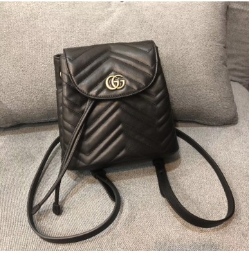 Gucci GG Marmont Black matelassé backpack
