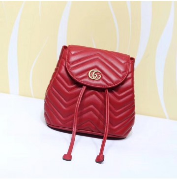 Gucci GG Marmont Red matelassé backpack