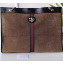 Gucci Rajah Maxi Tote in Brown Suede