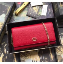 GG Marmont Leather Chain Wallet Red