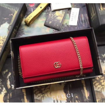 Gucci GG Marmont Leather Chain Wallet Red