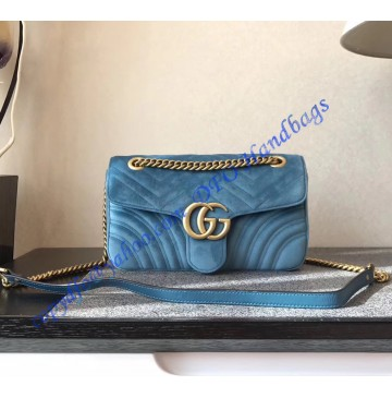 Gucci Small GG Marmont Blue velvet shoulder bag