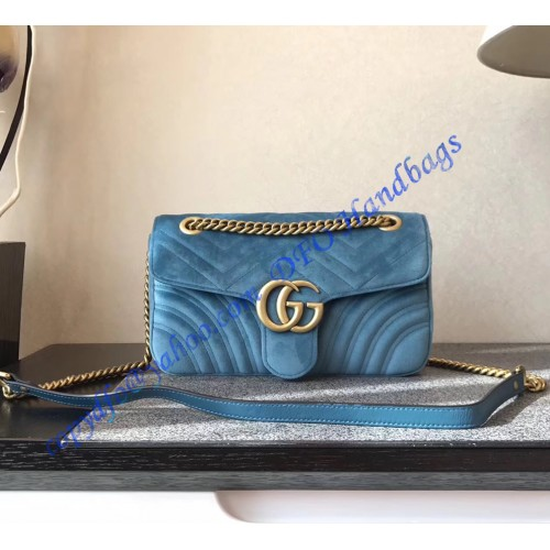 2f6e5d1496f155 Gucci Small GG Marmont Blue velvet shoulder bag. Loading zoom