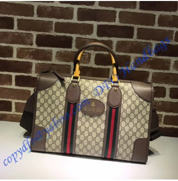 Gucci Soft GG Supreme duffle bag with Web and brown leather trim