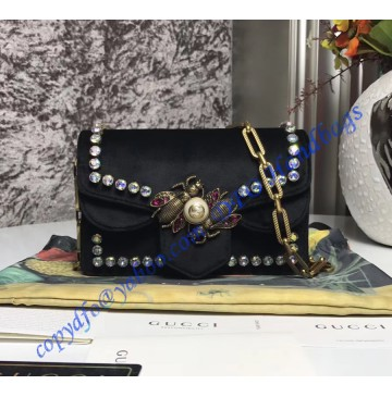 Gucci Broadway black velvet mini bag