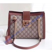Padlock small GG shoulder bag Brown