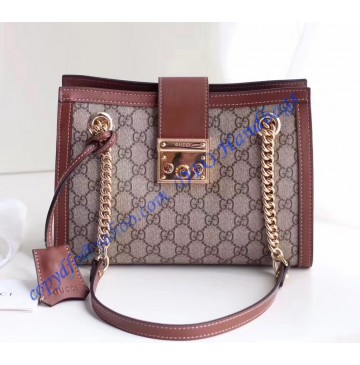 Gucci Padlock small GG shoulder bag Brown