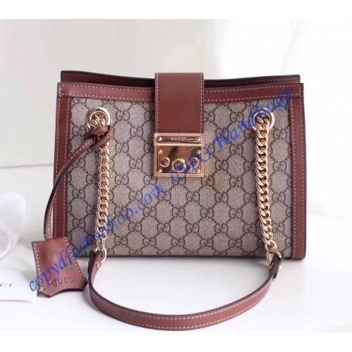 858f0ceb725 Gucci Padlock small GG shoulder bag Brown. Loading zoom