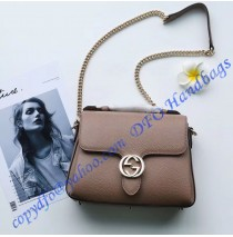 Interlocking G Buckle Convertible Chain Tan Leather Cross Body Bag