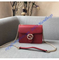 Interlocking Chain Red Leather Cross Body Bag
