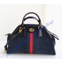 RE(BELLE) medium top handle bag Blue Suede