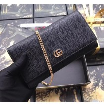 Gucci GG Marmont Leather Chain Wallet Black