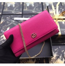 Gucci GG Marmont Leather Chain Wallet Rose Red