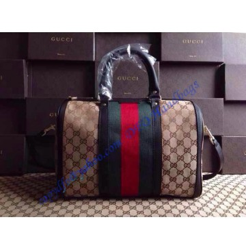 Gucci Vintage Web Original GG Canvas Boston Bag Brown