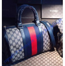 Gucci Vintage Web Original GG Canvas Boston Bag Dark Blue