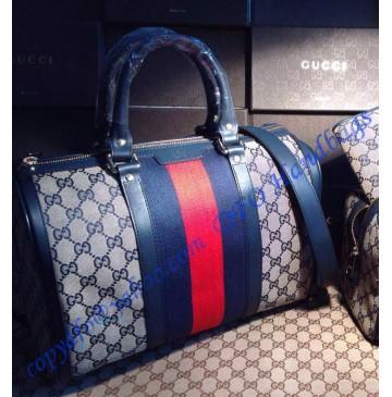 Gucci Vintage Web Original GG Canvas Boston Bag Dark Blue