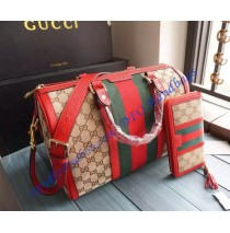 Gucci Vintage Web Original GG Canvas Boston Bag Red