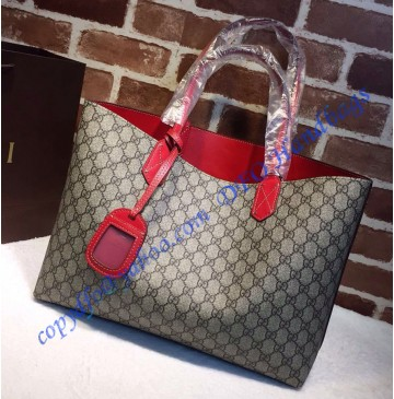 Gucci Reversible beige/ebony GG leather and red leather tote GU368568GG-red