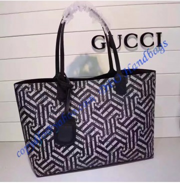 Gucci Reversible GG leather with Caleido print and black leather tote GU368568SS-black