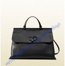 Gucci Bamboo Daily Leather Top Handle Bag Black