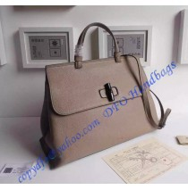 Gucci Bamboo Daily Leather Top Handle Bag Gray