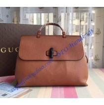 Gucci Bamboo Daily Leather Top Handle Bag Light Brown