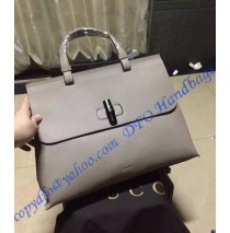 Gucci Bamboo Daily Leather Top Handle Bag Light Gray