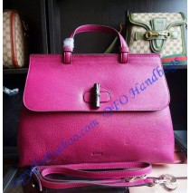 Gucci Bamboo Daily Leather Top Handle Bag Rose Red