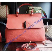 Gucci Bamboo Daily Leather Top Handle Bag Watermelon Red