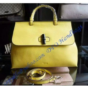 Gucci Bamboo Daily Leather Top Handle Bag Yellow