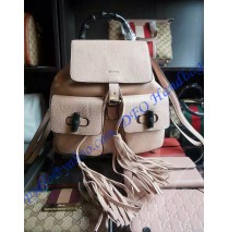 Gucci Bamboo Leather Backpack Beige