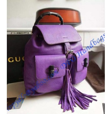 Gucci Bamboo Leather Backpack Purple