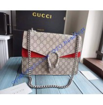 Gucci Dionysus GG Supreme Large Shoulder Bag with Red Suede Detail