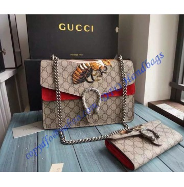 Gucci Dionysus GG Supreme Large Shoulder Bag with Bee Embroidery and Red Suede Detail