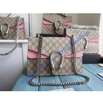 Gucci Dionysus GG Supreme Medium Shoulder Bag with Pink Suede Detail
