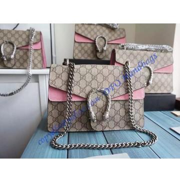 Gucci Dionysus GG Supreme Medium Shoulder Bag with Pink Suede Detail