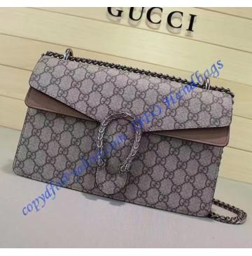 Gucci Dionysus GG Supreme Medium Shoulder Bag with Tan Suede Detail