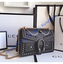 Gucci Dionysus Studded Medium Shoulder Bag in black leather