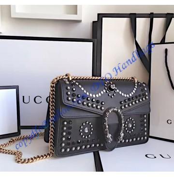 Gucci Dionysus Studded Medium Shoulder Bag in black leather