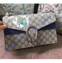 Gucci Dionysus GG Blooms Medium Shoulder Bag with Blue Suede Detail
