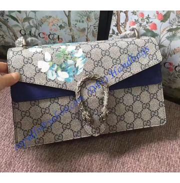 Gucci Dionysus GG Blooms Medium Shoulder Bag with Blue Suede Detail