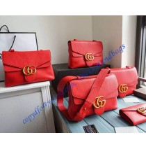 Gucci GG Marmont Leather Shoulder Bag GU401173-red