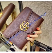 GG Marmont Brown Leather Mini Chain Bag