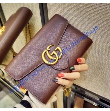 Gucci GG Marmont Brown Leather Mini Chain Bag