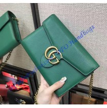 GG Marmont Green Leather Mini Chain Bag