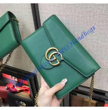 Gucci GG Marmont Green Leather Mini Chain Bag