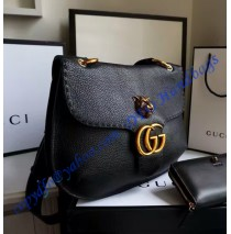 Gucci GG Marmont leather shoulder bag GU409154-black