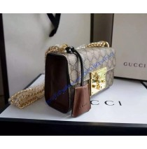 Gucci Small Padlock GG Supreme Shoulder Bag GU409487CA-brown