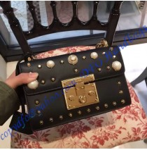 Gucci Small Padlock studded leather shoulder bag GU409487P-black
